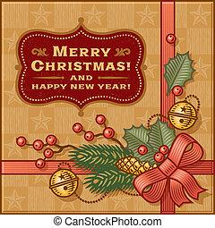 Vintage Christmas Gift - Vintage Christmas gift in woodcut...