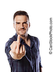 middle finger - Young man showing middle finger