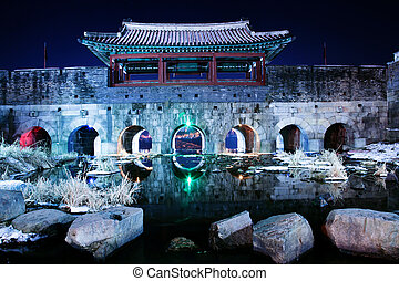 traditional architecture in south korea,Suwon Castle,Night...