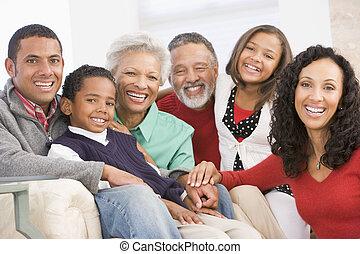 familj, Stående, hos, jul