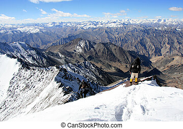 Climbers -Mountain Climb- Stok Kangri 6,150m 20,080ft, India...