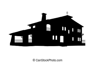 old style big house silhouette - black and white silhouette...