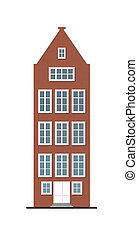traditional townhouse red brick facade - illustration of a...