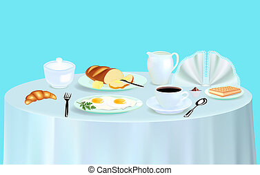 Breakfast with scrambled eggs coffee and croissant -...