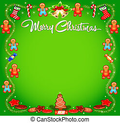 background Christmas with cakes sweets and tinsel -...