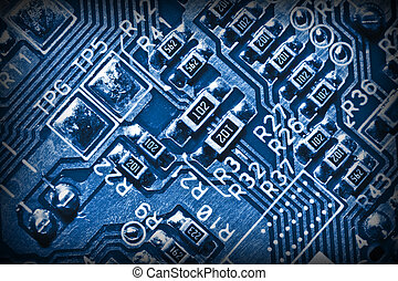 electronic circuit - close up of electronic circuit blue...
