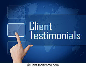 Client Testimonials concept with interface and world map on...