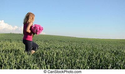 girl flower rye field