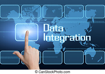 Data Integration concept with interface and world map on...