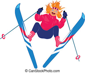 Girl skiing isolated on white - Vector illustration of a...