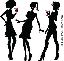 Three party girls silhouettes - Three silhouettes of young...