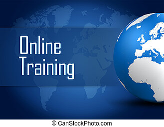 Online Training concept with globe on blue background