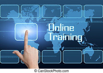 Online Training concept with interface and world map on blue...