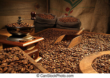 Coffee grinder - Coffee beans, coffee bags and manual...