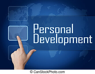 Personal Development concept with interface and world map on...