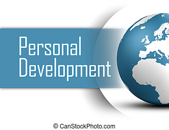 Personal Development concept with globe on white background