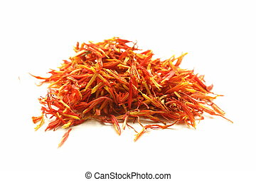 saffron treads in pile on a white background