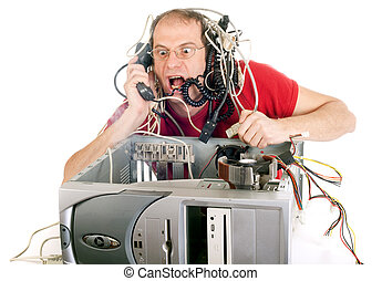 technology panic - man in panic with his computer trying to...