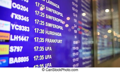 Close-up of arrival and departure board. - Close-up of...