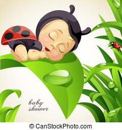 Baby shower card with baby ladybug - Baby shower card with...