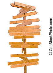 wooden blank sign post - wooden sign post with many...