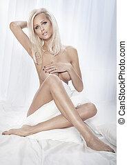 Sensual blonde beauty posing . - Sensual blonde woman posing...