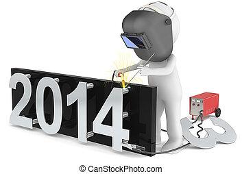 New Year 2014 - 3d Little human character the welder Welding...