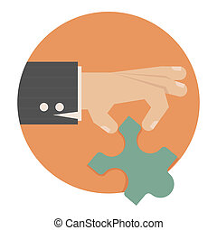 Hand with puzzle , eps10 vector