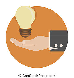 Light bulb in hand , eps10 vector format