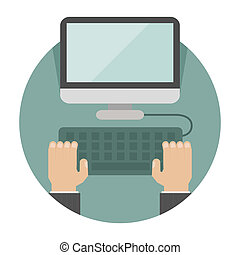 Hand on laptop , eps10 vector format