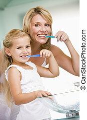 cepillado, cuarto de baño, mujer, joven, dientes, niña