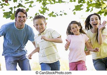 Funcionamiento, sonriente, familia, Aire libre