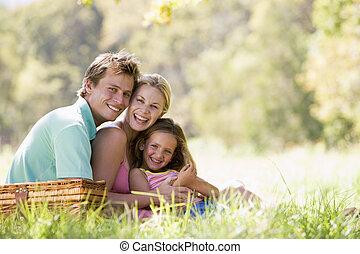 familj, Parkera, ha, picknicken, skratta