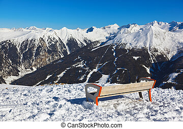 Bench at mountains ski resort Bad Gastein - Austria