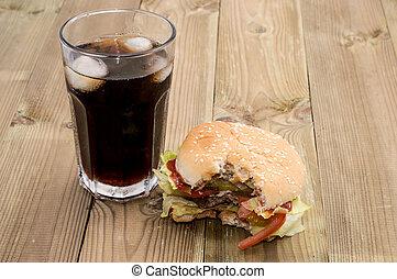 Bitten Off Burger with Softdrink