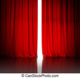 red theater or cinema curtain slightly open and white light...
