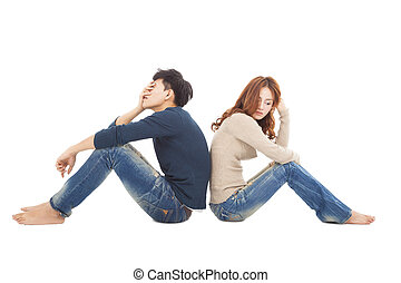 joven, pareja, Sentado, espalda, espalda, Durante, conflicto