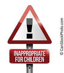 inappropriate for children warning sign illustration design...
