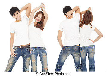 front and rear view happy couple with white t shirt