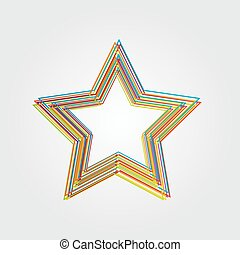 Illustration of star made from color lines