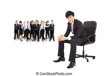 young businessman with successful business team