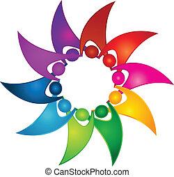 Teamwork swooshes logo - Teamwork swooshes as flower vector...