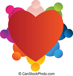 Teamwork with a red heart logo vector