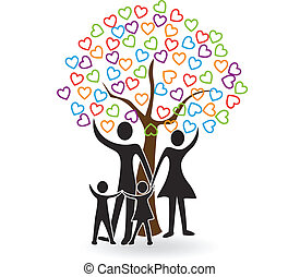 Family with tree of hearts logo vector