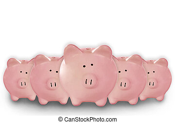 5 Piggy Banks Lined up Waiting for Your Savings