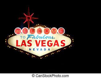 bienvenida, a, Las, Vegas, neón, señal