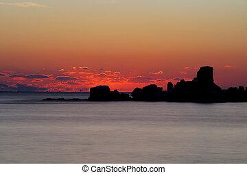 Levers de Soleil, sud, Corée, beau, mer, Navire...