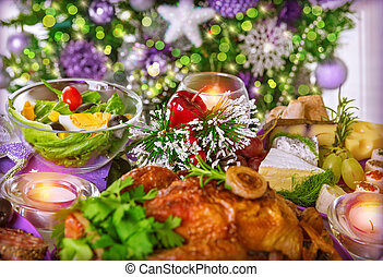 Christmas dinner - Close up photo of festive table setting,...