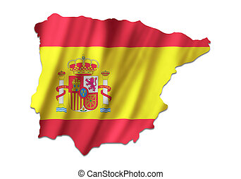 Spain map with the flag inside