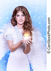 ?ute angel, portrait of beautiful teen girl wearing fluffy...